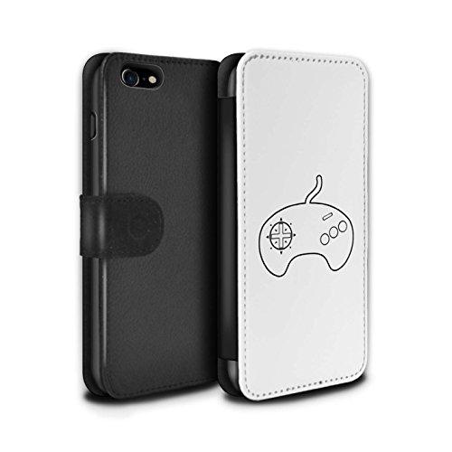 Stuff4 Coque/Etui/Housse Cuir PU Case/Cover pour Apple iPhone 8 / Pack 20pcs Design / Manette Jeux Vidéo Collection Mega Drive Blanc