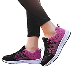 TianWlio Sneaker Damen Outdoor Mesh Beiläufig Sportschuhe Atmungsaktive Weiche Outdoorschuhe Unterseite Schuhe Turnschuhe White Pink Hot Pink 35-40