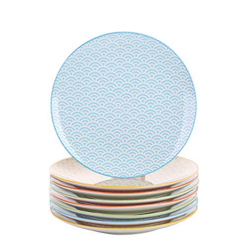 Vancasso, Natsuki 8 TLG. Porzellan Speiseteller Set, Ø 27 cm Große Flachteller, Rund, Mehrfarbig