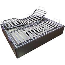 NOSOLOPATAS - Canapé abatible madera somieres articulados eléctricos 135/190 Ceniza
