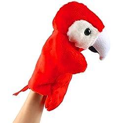 Andux Zone Precioso muñeco de Mano de Felpa Muñeco de Peluche (SO-07 Loro Rojo)