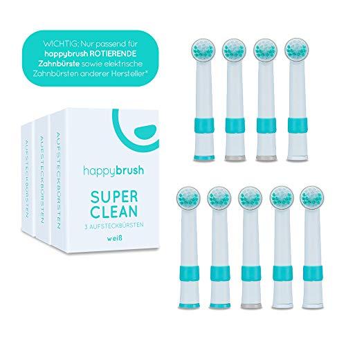 happybrush Aufsteckbürsten für Elektrische, Rotierende Zahnbürsten | Ersatzbürsten 9er Pack (3x3 St) | Wechselköpfe Voll Kompatibel mit Oral-B PRO, TriZone, Vitality, Professional Care (Weiß)