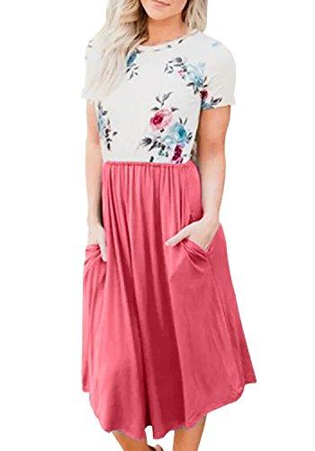 Yidarton Damen Sommer Kleid Kurzarm Blumendruck Patchwork Casual Plissee Midikleid mit Taschen, Rosa, S -