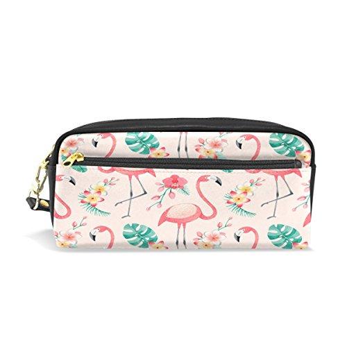 Flamingo Blumenmuster Reise Make-up Pouch Large Wasserdicht Leder 2Fächer für Mädchen Jungen Damen Herren ()