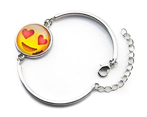 emoji armband Emoji-Schmuck-Armband von EmojiHeart - bezauberndes Schmuck-Stück für Frauen - Armband und Kette Edelmetall Rhodium veredelt, Glas mit tollem 3D Effekt Emoji-Smiley (Smiling Face with heart-shaped eyes)