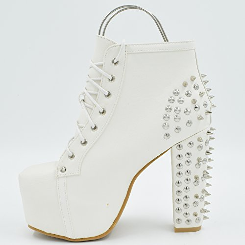 Oasap Spiking Lace Up Chunky Heels White
