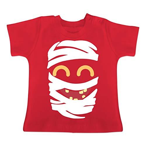 Karneval und Fasching Baby - Mumie Karneval Kostüm - 1-3 Monate - Rot - BZ02 - Baby T-Shirt Kurzarm (Leicht Mumie Kostüm)