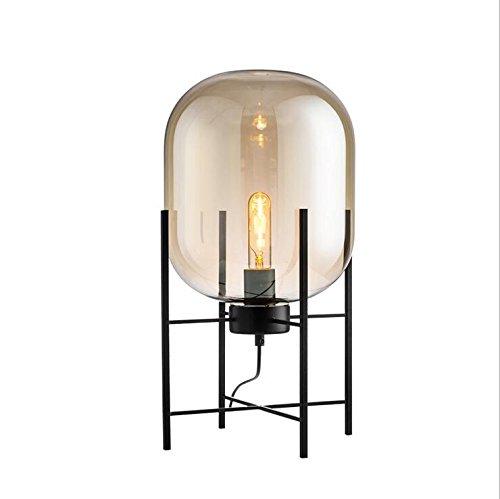 OOFAY BXD Postmoderne Minimalistische Glas Tischlampe, Kreative Mode Vintage Winter Melone Schreibtisch Licht -