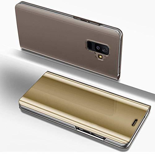Hülle Kompatibel mit Samsung Galaxy A6 Plus 2018 Spiegel Ledertasche BookStyle Handyhülle Brieftasche Glitzer Kristall Spiegel Hülle Mirror Case Leder Flip Tasche Lederhülle,Gold