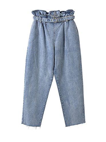 COCO clothing Sommer Herbst Mom Jeans Damen Breit Freizeithosen Frauen Blumen Hoher Bund Bundfaltenhosen Culotte 7/8 Luftige Haremshose (L)