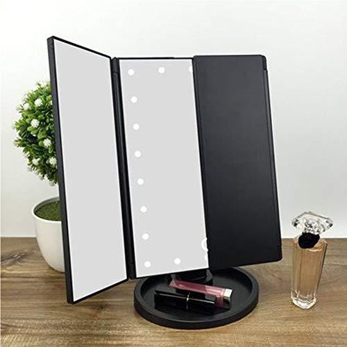 LED Make-up Spiegel mit Licht dreifach gefaltete Kosmetikspiegel Kosmetikspiegel Tischlampe dreiseitig faltbare USB-Kosmetikspiegel-black