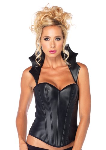 nstleder Vamp Corsage, Größe M, schwarz (Vampir Kostüm, Leg Avenue)