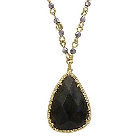 Rosemarie Collections Women's Semi Precious Stone Teardrop Pendant Necklace (Labradolite)