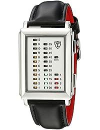 Detomaso Spacy Timeline 1 - Reloj de cuarzo para hombres, con correa de cuero de color negra, esfera blanca