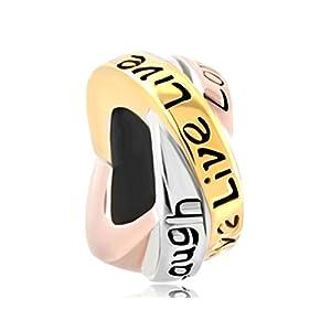 "Dreireihiger Charm-Anhänger mit englischer Aufschrift ""Live Love Laugh"" (Lebe, Liebe, Lache), 925er Sterlingsilber, passend für Pandora-Armband"