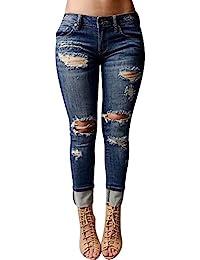 Femmes Skinny Denim Jeans Déchirés Pantalon Stretch Slim Crayon Jeans Jeggings Collants
