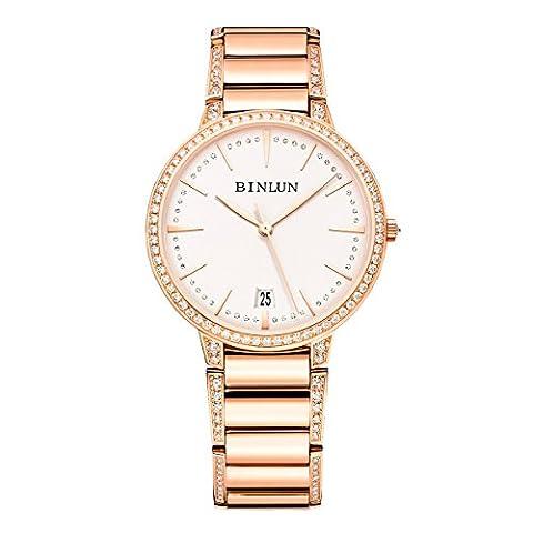 Binlun Elle et Lui Cadeau Amant montres étanche Doré ultrafin pour femme montre automatique avec date Diamante Band