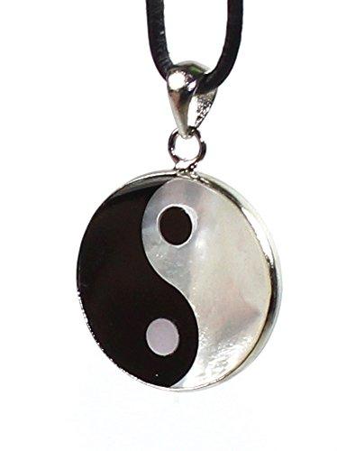 budawi® - Anhänger ''Yin Yang'' Ø 26 mm, Amulett Kettenanhänger aus Perlmutt