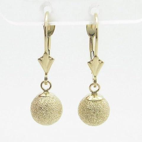 'Charm-Pendants Damen bp87Fancy Ohrringe 14K Gelb Gold Italienische Kugel Ohrstecker Huggie Hoop