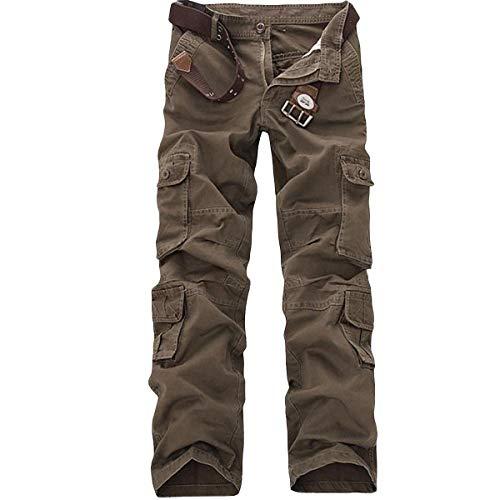 Allthemen Pantalon de Travail Homme Style Cargo - Multipoches sans Ceinture, Café, 48(tour de taille 104cm)