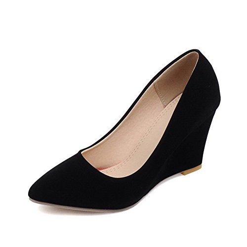 VogueZone009 Femme Pointu Tire Suédé Couleur Unie à Talon Haut Chaussures Légeres Noir