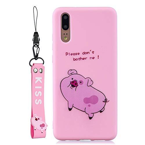 Everainy Kompatibel für Huawei P20 Pro Silikon Hülle Matt Ultradünn Hüllen mit Schlüsselband Handyhülle Gummi für Huawei P20 Pro Stoßfest TPU Gel Stoßstange Cover (Schwein) -
