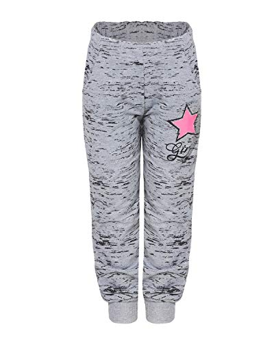SEZON SEZON Mädchen Jogginghose mit Stern Sweathose Freizeithose Sporthose Streetwear (Grau, 116)