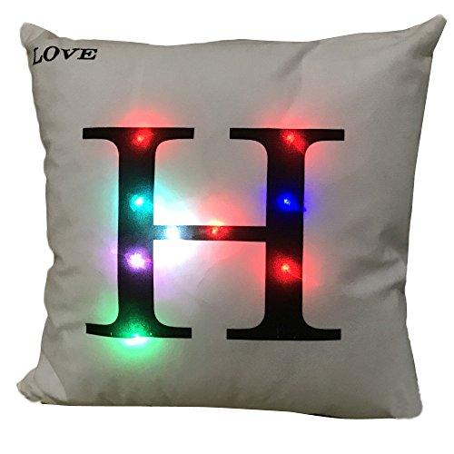 Andouy federa di velluto con lettera lampeggiante a led, per le feste e come idea regalo,federa per cuscino con luci a led colorate, decorazione per la casa, per natale, halloween, festa
