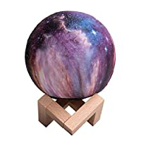 JIGAN 7 Colors 3D Print Star Moon Lamp Colorful Change Touch Home Decor Creative Gift Night Light Galaxy Lamp Moon Light for Baby Kids Birthday Party,18cm