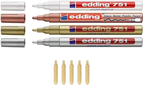 Edding 751 4 x 5 pointes rechange coloris : blanc/argent/or/cuivre