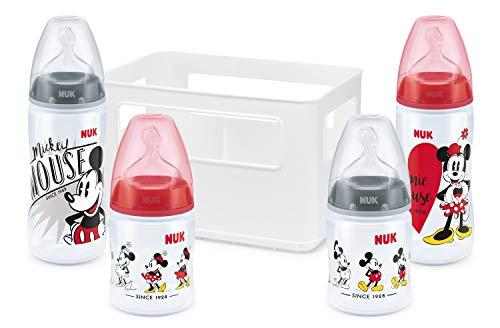 NUK Set Biberon Disney Mickey Mouse First Choice+ con 4 Biberon (2x 300ml e 2x 150ml), 0-6 mesi, Anticoliche, Mickey & Minnie Mouse
