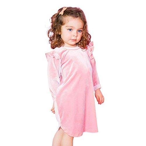 olan Festliche Kleider für Mädchen Kleinkind Säugling Mädchen Lange Hülse Solide Tops Baby Kleid Kinder Outfits Vorsichtig Hülse Kleider (90CM, Rosa) ()