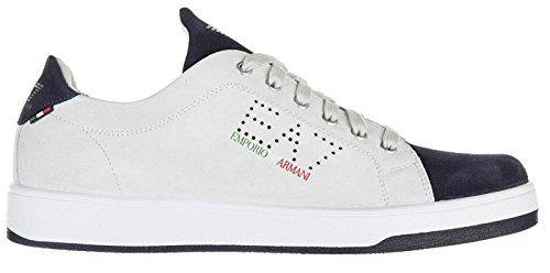 Emporio Armani EA7 scarpe sneakers uomo camoscio nuove italian edition grigio Bianco/Blu