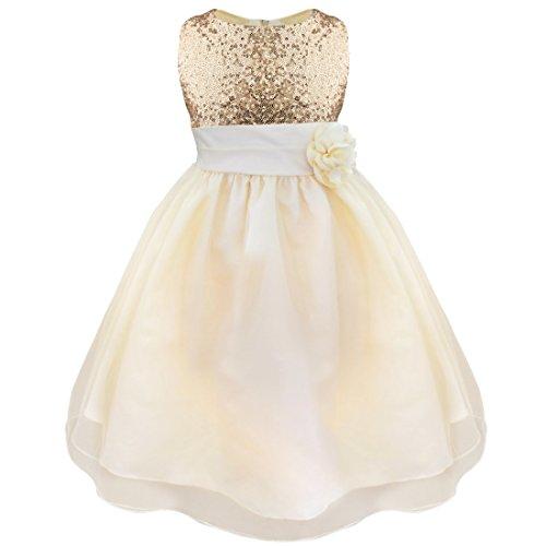 iEFiEL Vestido Elegante Boda Fiesta Bautizo para Nina Chica Vestido Lentejuelas Flor Brillante Ceremonia Niña Champañero 3-4 años