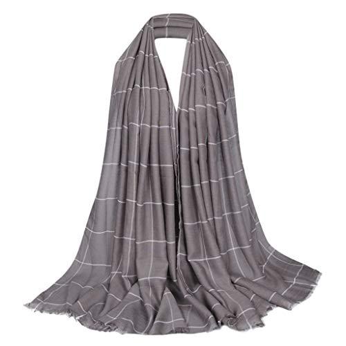 Lazzboy Frauen Ethnischen Abaya Islamischen Muslimischen Nahen Osten Plaid Hijab Wrap Schal Kopfbedeckungen Premium Viskose Maxi Crinkle Cloud Weichen Islam Muslim(M)