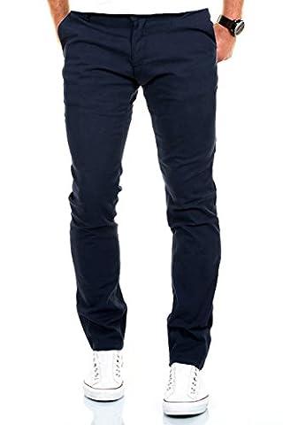 Merish Chino Stretch Slim-Fit Figurbetont Stoffhose Hose Jeans Modell 168 Dunkelblau 36-32