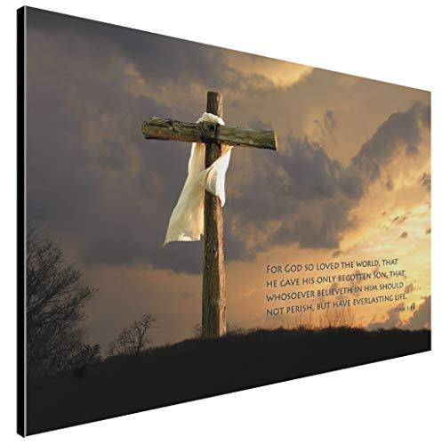 LACOFFIO Holzschild John 3:16, religiöser christlicher Bibelvers mit gepflegtem Holzkreuz, handgefertigt von Amish in den USA, aus echtem Kiefernholz, 45,7 x 30,5 cm - Amish Bad