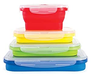 Thin Bins Collapsible Containers - Set of 4 Silicone Food Storage Containers - BPA Free, Microwave, Dishwasher and Freezer Safe - No more cluttered Tupperware cabinet!