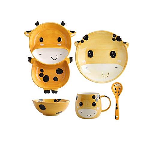 Ensemble de couverts en céramique pour enfants, 5 pièces, assiette de bol, plat et bols créatifs mignon pour bébé (Couleur : Giraffe)