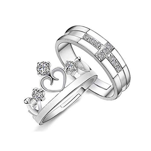 LIICC Kronenring aus Sterlingsilber, Prinz und Prinzessin Ring, Männer und Frauen Heiratsantrag Platin Paar Geschenk - Platin Männer-verlobungsringe,