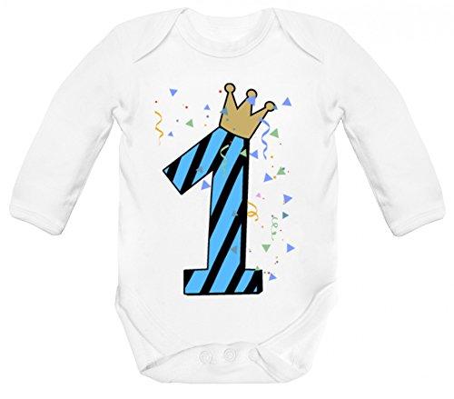 Geschenkidee Geburtstag Strampler Bio Baumwoll Baby Body langarm Longsleeve Junge - 1. Geburtstag, Größe: 12 - 18 Monate,White