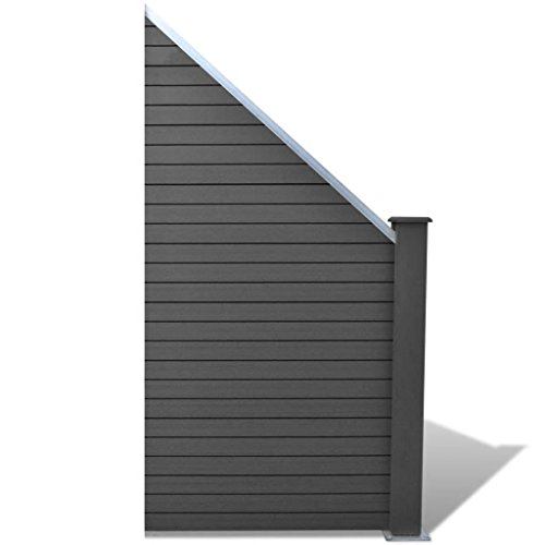 Tidyard WPC-Zaunelement 105×(105-185) cm Abgeschrägt Grau WPC Fence Set, Privacy Fence Wind Protection, Posts Fence Board, Garden Fence -