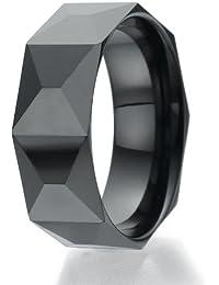 Ziegel 8mm facettiert Design schwarz Keramikring