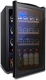 Beverage Display Cabinet Small Refrigerators for Bedroom with Glass Door and Led Blue Light, Beverage Refriger