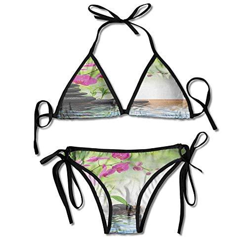 Orchid Underwire (Padded Halter Bikini Set,Mat Orchid Stones Wellness Sexy Bikini 2 Pieces)
