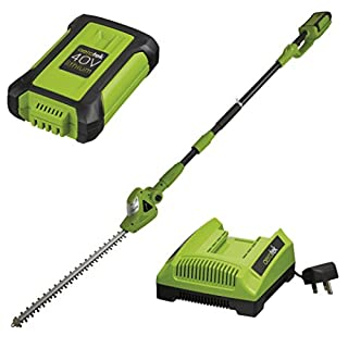 Aerotek 40V Series X2 Cordless Battery Powered Extendable Pole Hedge Trimmer/Cutter Machine with Blade Guard and Shoulder Harness, Adjustable Head, Extra-large 500mm Cutting Length (40v Series X2 Pole Hedge Trimmer Machine, Battery & Charger)