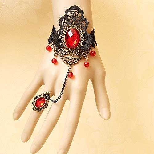 Altersgruppen Kostüm Rock Aller - MLSJM Gothic Armband Ring Set Für Frauen, Handgemachte Vintage Schwarzer Spitze Armband Eingelegten Roten Kristall Armbänder Für Halloween-Kostüm-Party