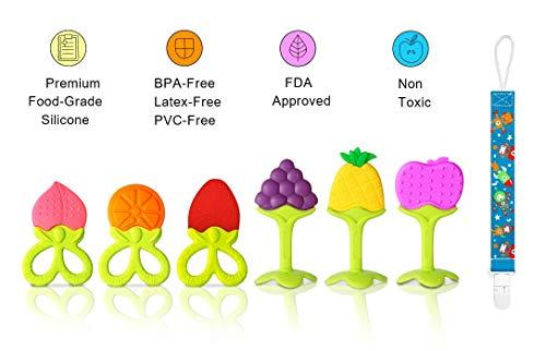 Anneaux de Dentition VDROL Bébé Naturel 100% Silicone sans BPA Approuvés par la FDA Jouet Dentition Fruits Sans Odeur et Sans Gout avec Attache-Sucette pour Bébés et Tout-Petit (7 Pièces)