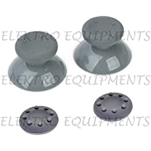 XBOX 360 Controller Grey Replacement Plastic 3D Joystick Cap with Grey Anti-slip Silicone Cover (1 Pair each)
