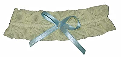 Strumpfband für Hochzeit mit Schleife und Perlen, creme-blau